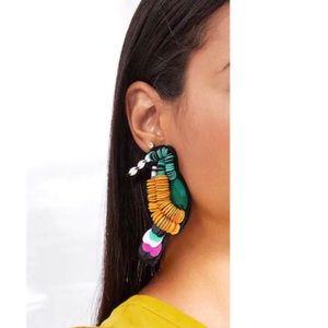 Bold Color-Block Parrot Earrings